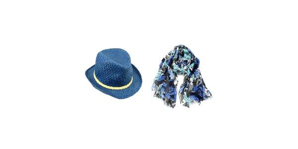 Dámský set - modrý květovaný šátek a slaměný klobouk Invuu London