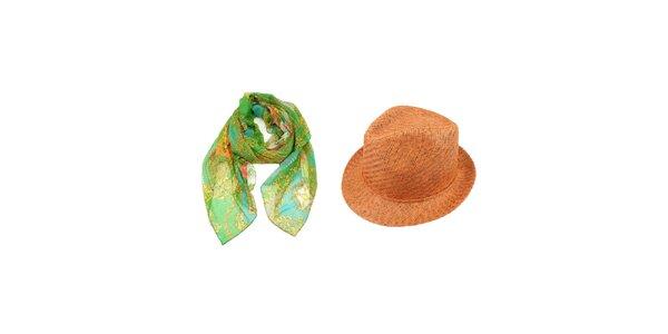 Dámský set - zelený šátek se vzorem a oranžový slaměný klobouk Invuu London