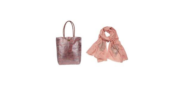 Dámský set - růžový šátek a slaměná taška Invuu Lodon