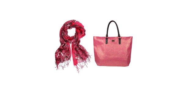 Dámský set - barevný šátek a slaměná růžová taška Invuu Lodon