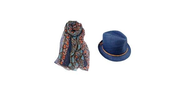 Dámský set - barevný šátek a modrý slaměný klobouk Invuu London