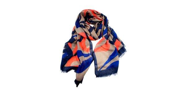 Dámský modrý šátek s roztřepeným lemem Invuu London