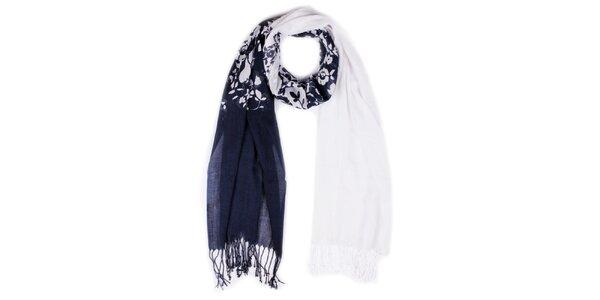 Dámský modro-bílý šátek s třásněmi Giancarlo Bassi