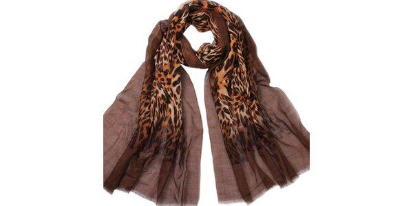 Dámský hnědý šátek se zvířecím vzorem Giancarlo Bassi