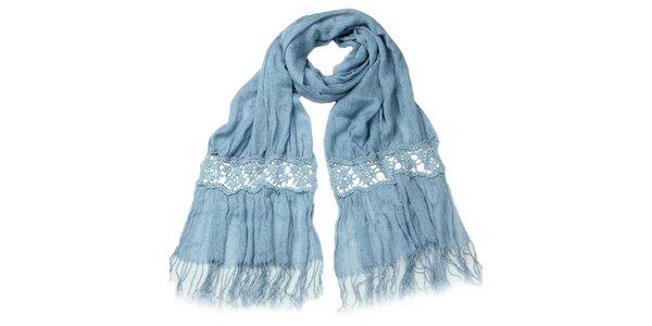 Dámský modrý šátek s třásněmi Giancarlo Bassi