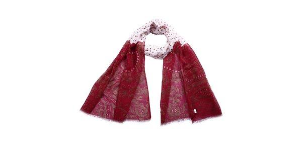 Dámský dvoubarevný šátek se vzorem a puntíky Giancarlo Bassi