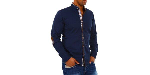 Pánská tmavě modrá košile se stojáčkem Carisma
