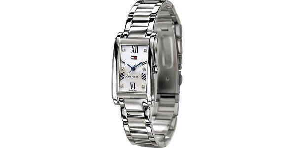 Dámské ocelové hodinky hranatým ciferníkem Tommy Hilfiger