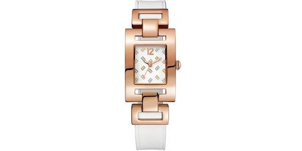 Dámské růžové ocelové hodinky s barevným hranatým ciferníkem Tommy Hilfiger