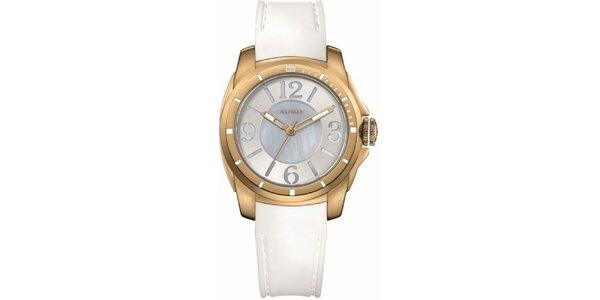 Dámské pozlacené ocelové hodinky s bílým silikonovým řemínkem Tommy Hilfiger