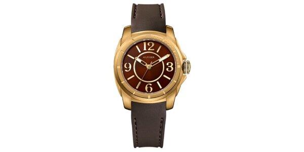 Dámské bronzové ocelové hodinky se silikonovým řemínkem Tommy Hilfiger