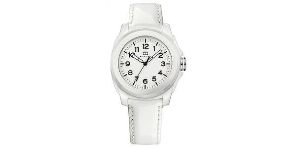 Dámské bílé keramické hodinky s lesklým řemínkem Tommy Hilfiger