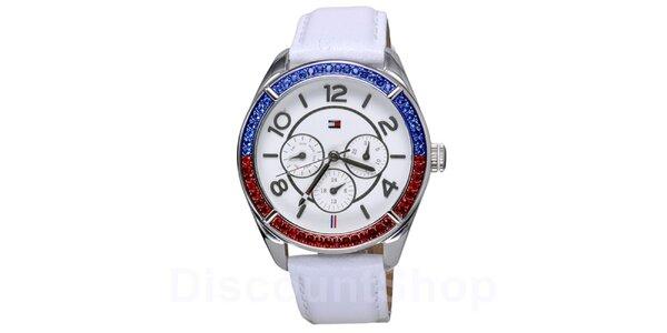 Dámské bílé hodinky s barevnými krystaly Tommy Hilfiger