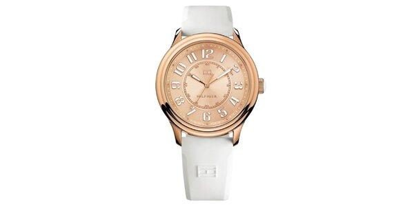 Dámské růžově zlaté ocelové hodinky s bílým řemínkem Tommy Hilfiger