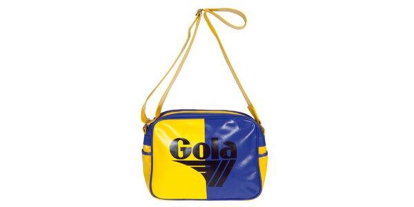 Retro modro-žlutá kabela s nápisem Gola