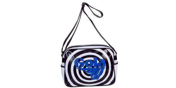 Retro černo-bílá taška s nápisem Gola