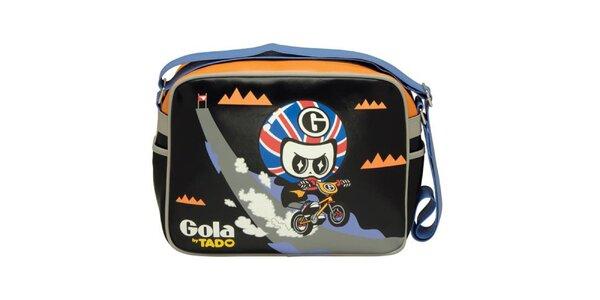 Černá kabelka s cyklistou Gola