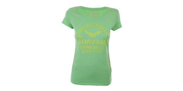 Dámské zelené tričko s potiskem Timeout