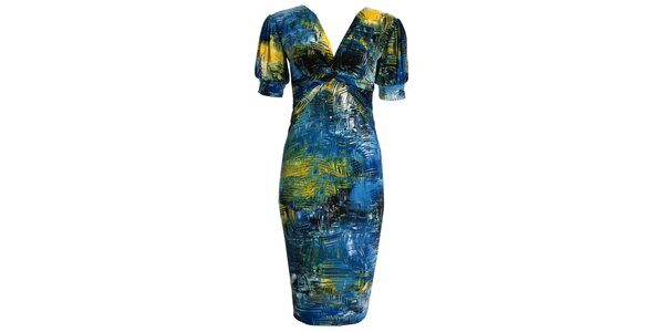 Dámské modro-žlutě vzorované šaty JDC London