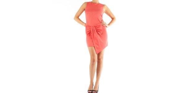 Dámské korálově růžové šaty Fifilles de Paris s velkou mašlí