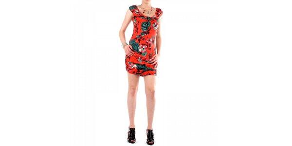 Dámské červené šaty Fifilles de Paris s květinovým potiskem