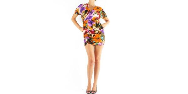Dámské oranžovo-fialové šaty Fifilles de Paris s potiskem