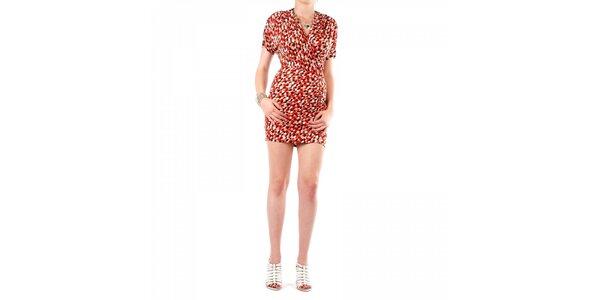 Dámské červeno-hnědé šaty Fifilles de Paris s potiskem