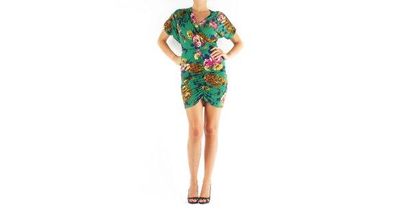 Dámské zelené šaty Fifilles de Paris s květinovým potiskem