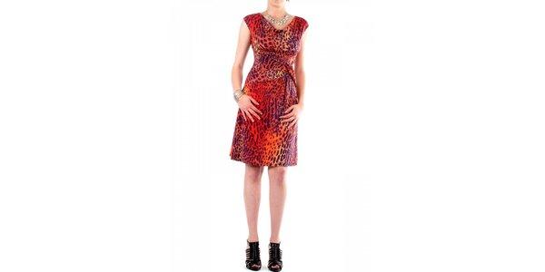 Dámské fialovo-oranžové leopardí šaty Fifilles de Paris