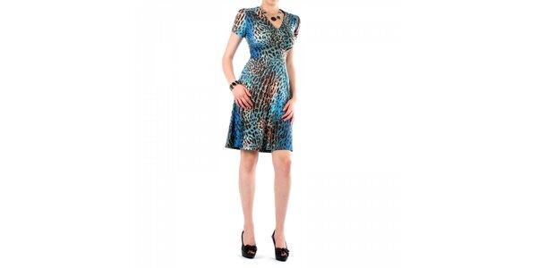 Dámské modro-hnědé leopardí šaty Fifilles