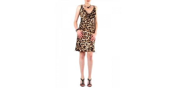 Dámské hnědé leopardí šaty Fifilles se Paris