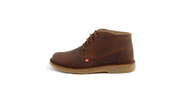 Nízké hnědé boty z pravé kůže Bustagrip