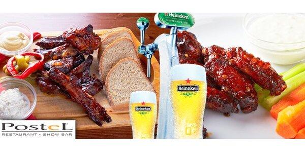 199 Kč za 2 porce pečených žebírek nebo kuřecích křidýlek a 4 Heinekeny!