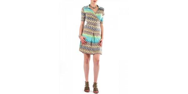 Dámské hnědo-zelené šaty Fifilles se Paris s potiskem