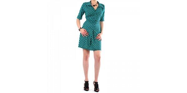 Dámské tyrkysové puntíkované šaty Fifilles se Paris