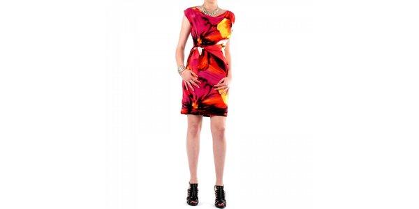 Dámské růžovo-oranžové šaty Fifilles de Paris s potiskem