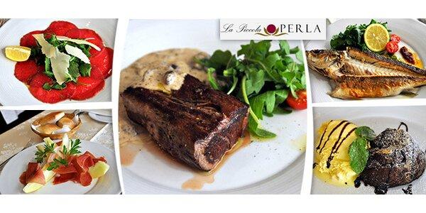 3chodové degustační menu pro 2 v La Piccola Perla