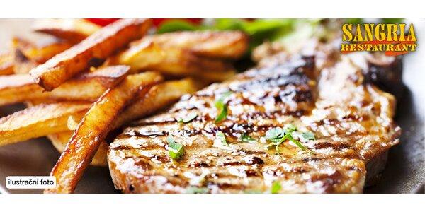 Dřevorubecký steak s hranolky a omáčkou pro dva