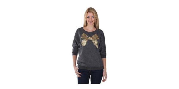 Dámský černý svetr s flitrovou mašlí Fresh Made