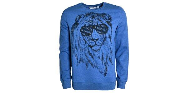 Pánská modrá mikina se lvem Urban Surface