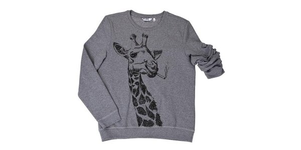 Pánská šedá mikina s kouřící žirafou Urban Surface