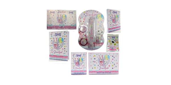 Set školních pomůcek Jewel Pet (psací sada+magnety+podložka+desky na sešity A4…