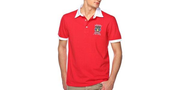 Pánské červené polo triko s bílým límečkem M. Conte