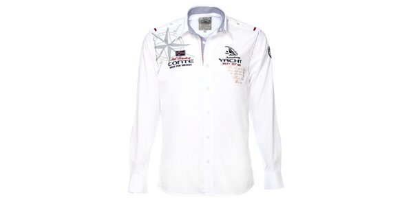 Pánská bílá košile s jachtařskými motivy M. Conte