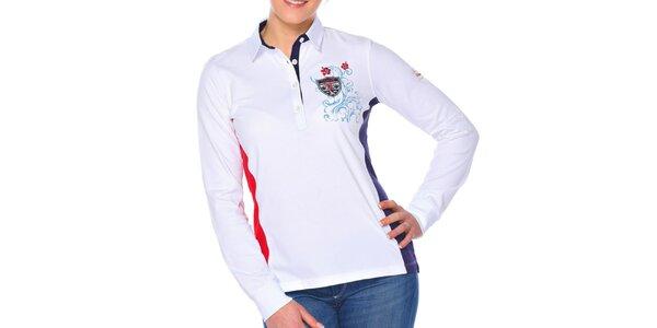 Dámské bílé polo tričko s dlouhými rukávy M. Conte