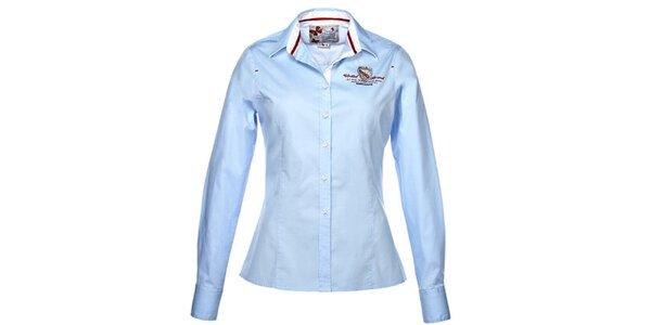 a998c2dc329 Dámská světle modrá košile s výšivkou M. Conte