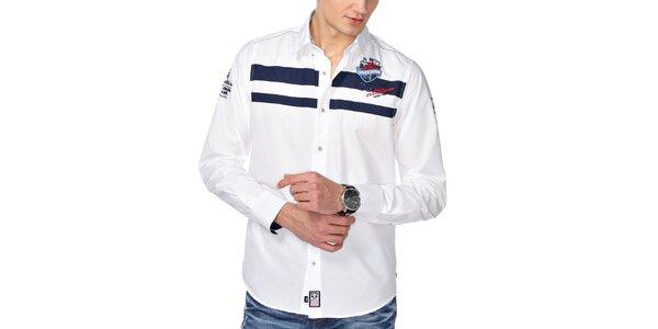 Pánská bílá košile s pruhy M. Conte