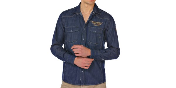 Pánská modrá džínová košile M. Conte