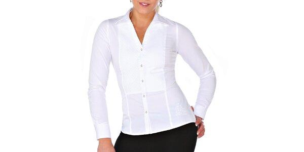 Dámská bílá košile s plisováním M. Conte