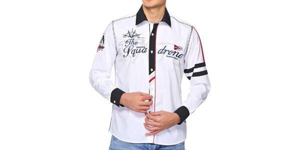 Pánská sněhobílá košile s výšivkami M. Conte